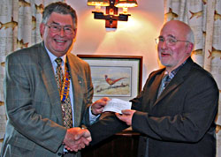 Cheque for Bampton Primary School building fund