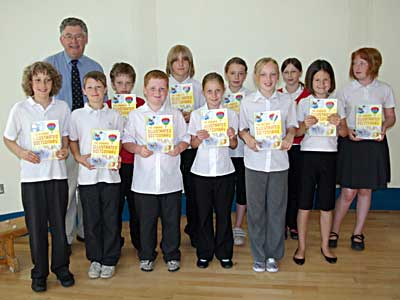 Dictionaries being prsented at Bampton School