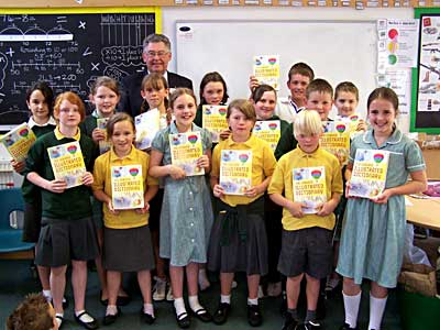 Year 6 pupils with their new dictionaries at Bolham