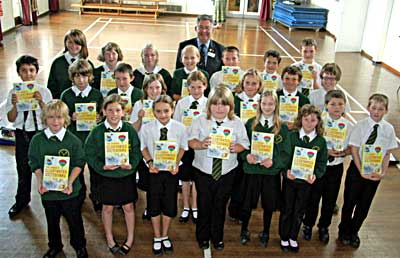 Year 6 pupils with their new dictionaries at Dulverton